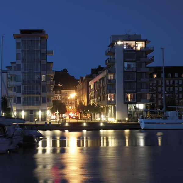 Kvällsbild från Norra hamnen i Helsingborg