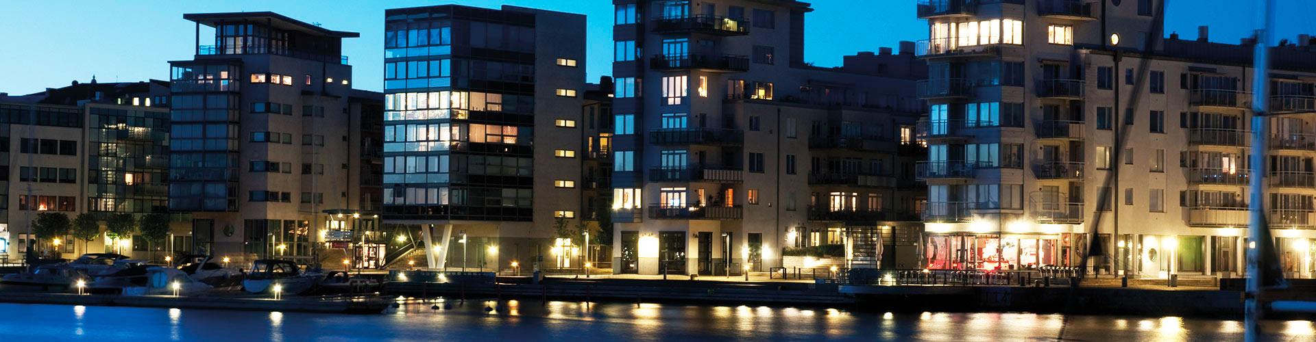 Kvällsbild Norra hamnen i Helsingborg